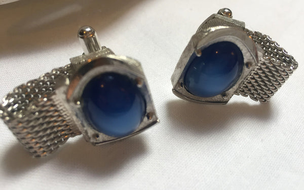 Swank 1960's Men's Cuff links - Mad Men, Vintage, Blue Elegance