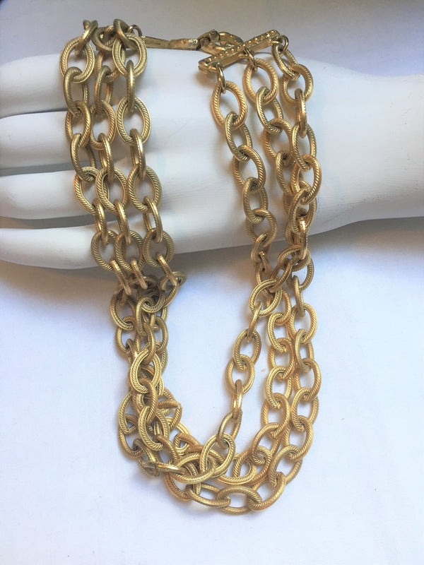 Givenchy, Signed Vintage Necklace - Gold Tone, Triple Chain, Chunky, 1960s