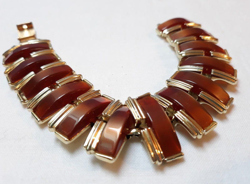 Stunning Coro Craft, Early 1950s Thermoset Brown Tone Bracelet, Stunning, Moonstone, Thermoset