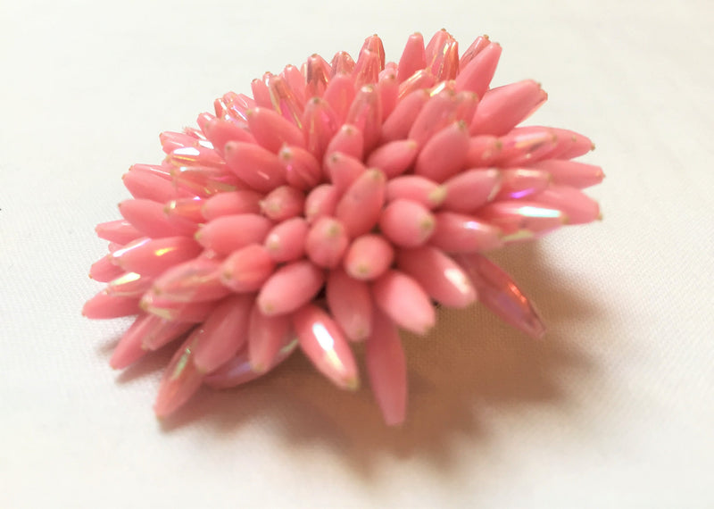 Made in Austria, Pink Lucite Iridescent Tipped Brooch, 1960s - HOT PINK, Floral Pin
