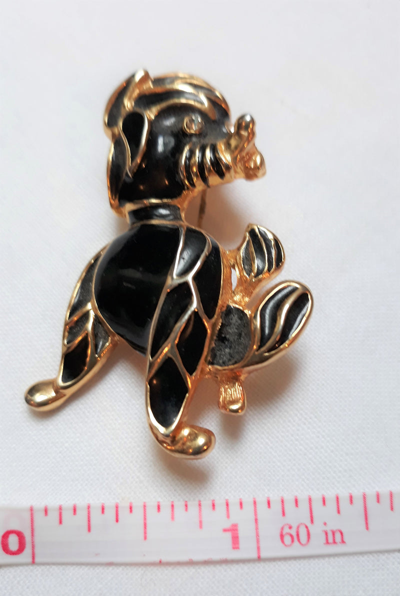 Vintage Black Poodle Brooch with Rhinestone Eyes, Gold Trim
