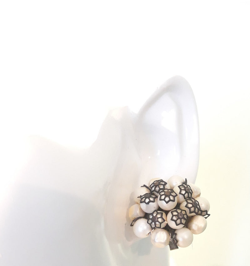 Laguna Signed, 1940s-1950s Faux White Pearl Cluster Earrings with Black Webs