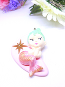 Pink Mermaid Brooch or Pendant - Designer Made, Reproduction