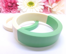 Vintage Inspired Mod Two-Tone Green and White Bangle Set