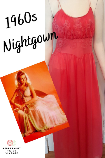 Gorgeous 1960s A Line Evening-Sleepwear Nightgown