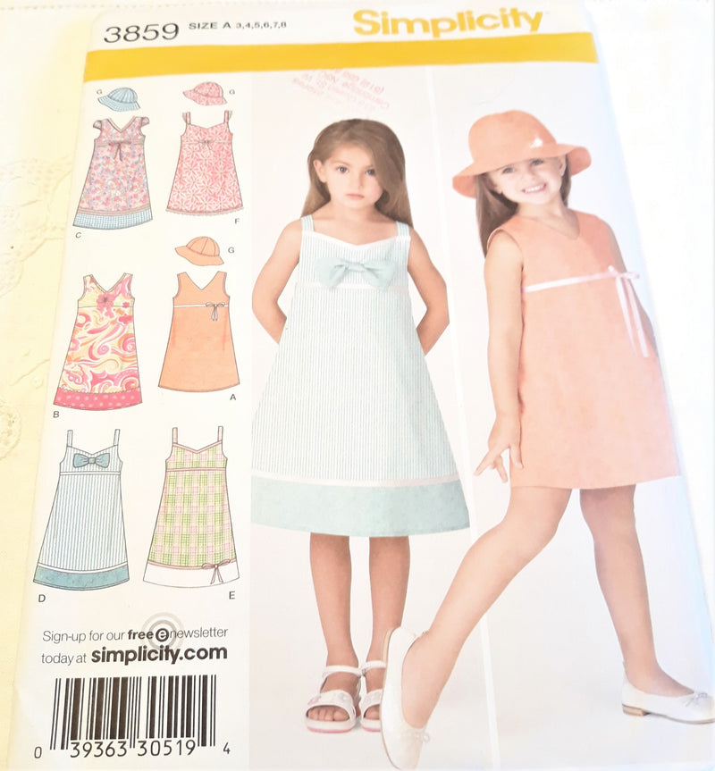 Simplicity Pattern 3859 - Girl's Summer Dress Sewing Pattern - Uncut Size 3-8