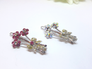 1950s Pair of Floral Bouquet Hair Pins - Rhinestone and Red