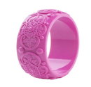 Stunning THICK Vintage Inspired DEEP PINK CARVED RESIN bangle/bracelet - TIKI