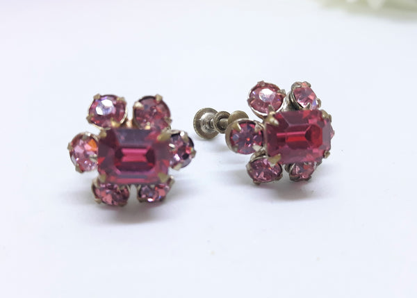Stunning 1950's Pink Rhinestone Floral Earrings - Screw Back Earrings