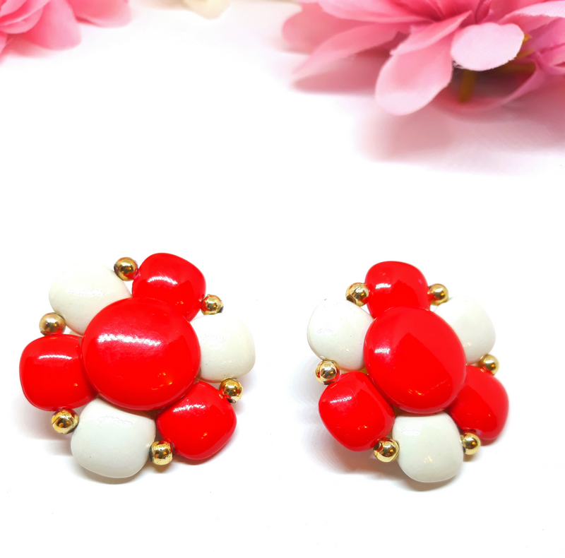 1960s MOD - Large, Two Tone Red and White Earrings 1.5 Inches