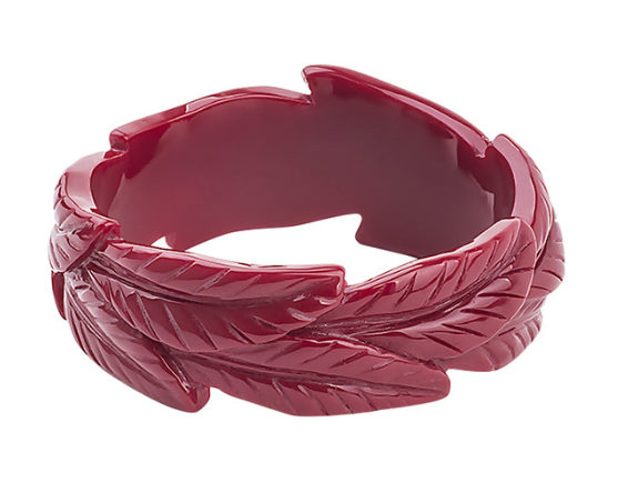 Stunning THICK Vintage Inspired RED, Leaves, CARVED RESIN bangle/bracelet - TIKI