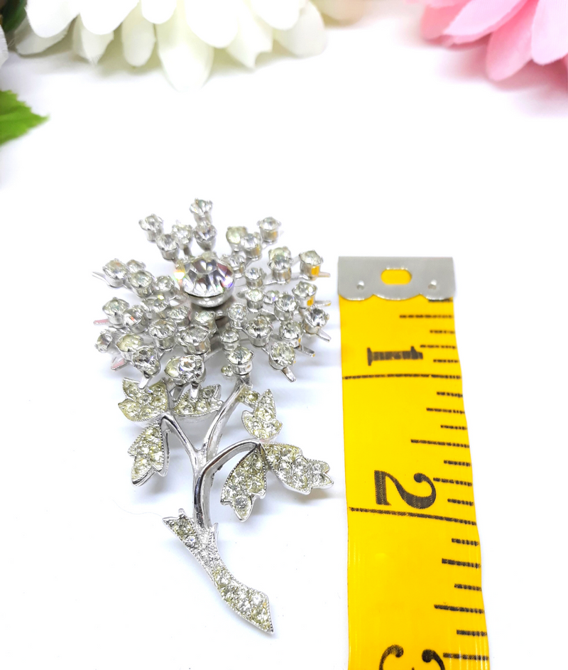 Eye Catching LARGE Vintage Rhinestone Floral Brooch - 1950s