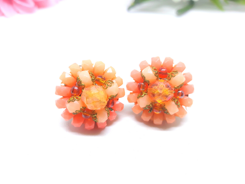 1950's Coral - Salmon Coloured Clip-On Earrings - Vintage Glamour