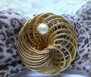 Gold Tone and Pearl Spiral Scarf or Dress Waist Clip - In Mint condition