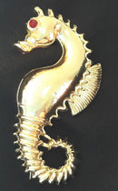 Vintage Gold Tone Seahorse Brooch - So whimsical