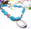 Trifari Signed Silver and Turquoise Marble Beaded Necklace