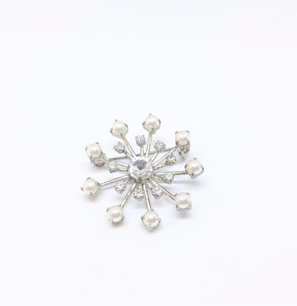 Vintage 1950s  Rhinestone and Pearl Starburst Brooch