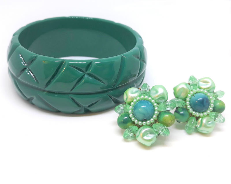 1940s Teal Earrings with Vintage, Inspired Bangle