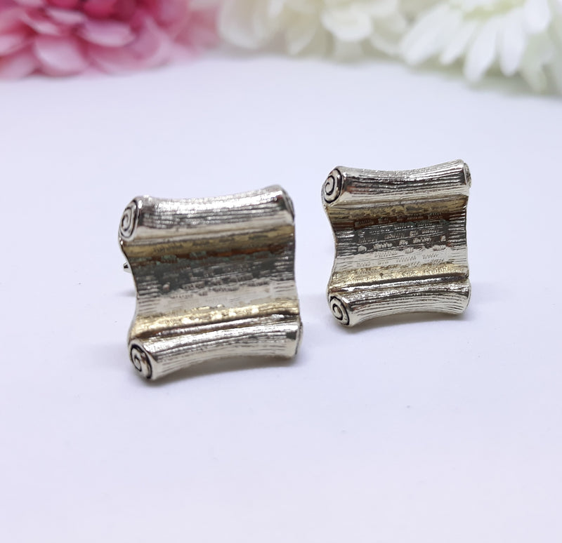 Vintage Scroll Silver Men's Cuff Links - Uro Pro Pat 1.144.883, 1980s - In Mint Condition