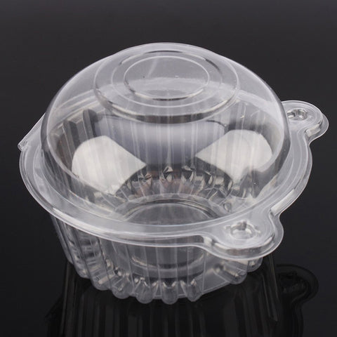 Cup a Cake Clear Pod Container Individual CupCake Plastic Dome Box For Large Muffins, Salad, Cheese, Cream, Fairy Cakes