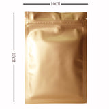 Matte Golden Mylar Zipper Grip Seal Foil Bags Flat Pouch Smell Free BPA Free Food Packaging For Spices, Herbs, Coffee and More