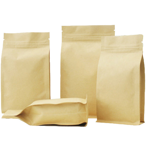Brown Heavy Duty Craft Paper Strong Gripseal Bags w/ Square Gusset Stand-Up Smell Free Suitable For Food Packaging