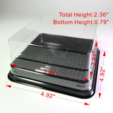 50x Clear Individual Square Containers Boxes (Lid with Black Base) For Mini Cakes, Desserts, Takeaway, Party Favors, Sushi and more
