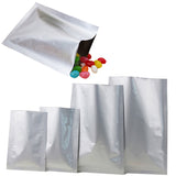 Heavy Duty Gloss Silver Open Top Bags Flat Sachet Pouch Heat Sealable Smell Free