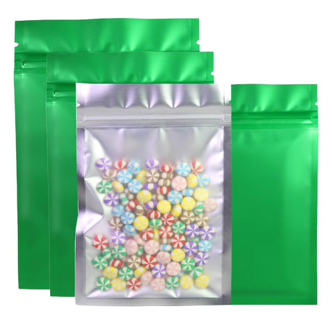 Matte Green With Frosted Clear Front Grip Seal Flat Bags Pouch Packing BPA Free