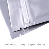 Silver Foil Strong Grip Seal Bags Flat Pouch Smell Free Food Packing Herbs Spices Tea Leafs and More