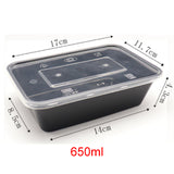 Clear/Black Takeaway Food Plastic Containers Microwave/Freezer Safe with Secure Lids Suitable for Rice, Curry, Salad, Desserts Multi-Purpose Use