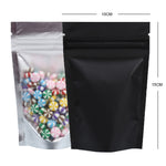 100 x Clear/Black Grip Seal Bags Gusset Base Stand Up Pouch Food Packaging BPA/Smell Free