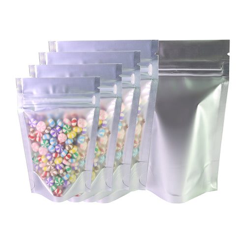 100 x Clear/Silver Grip Seal Bags Gusset Base Stand Up Pouch Food Packaging BPA/Smell Free