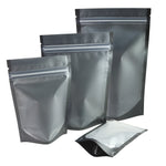 100 x Black/Frost Clear Gusset Gripseal Bags Stand-Up Packing Pouch Matte Finish