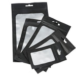 100 x Clear/Black Grip Seal Bags Flat Pouch For Packaging Art and Craft, Accessories, Food, Herbs BPA Free