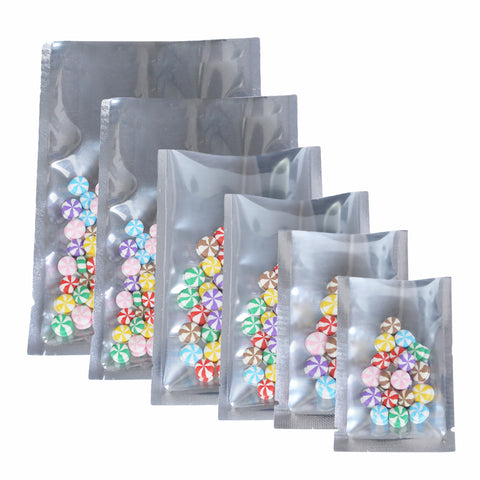 Pack of 100 Clear/Silver Open Top Bags Flat Pouch Sachet For Food Packaging Heat Sealant BPA Free