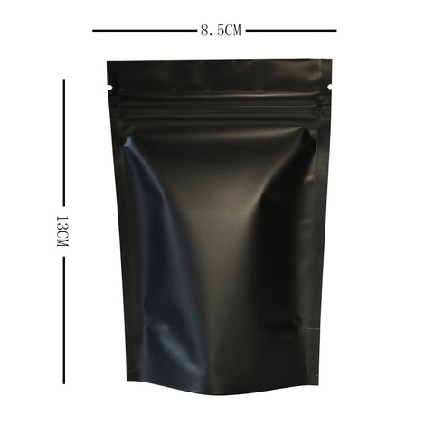 100 x Gusset Base Black Grip Seal Bags Stand-Up Pouch Strong Bag BPA Free For Food Packaging