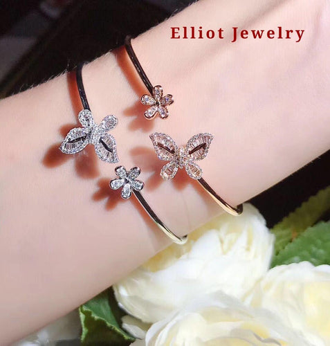 Diamond Butterfly Bangle - Elliot Jewelry
