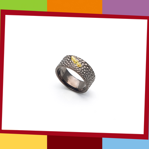The Manta Silver Collection, BOLD Ring.   Manta Bold Ring | Elliot Jewelry  925 Silver coated with Black and Yellow Gold