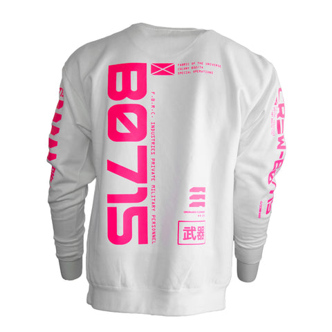 B0715 White CyberPink Sweater