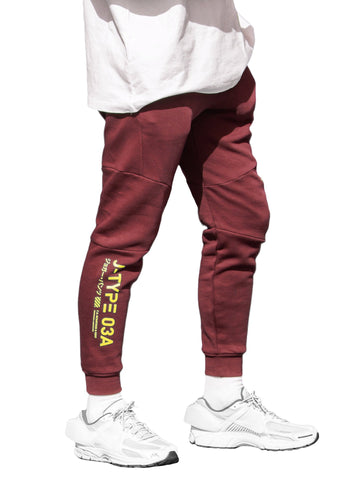 J-03A Maroon Jogger Pants - Fabric of the Universe