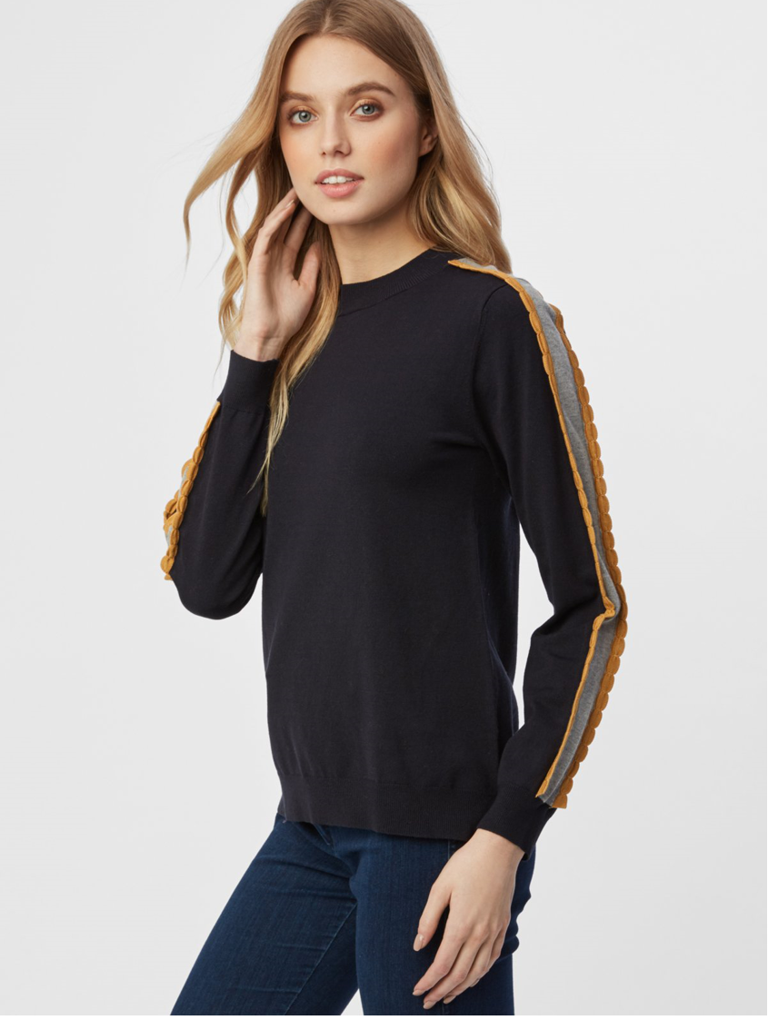 Colorblock Scallop Trim Sweater Dark Navy by 525 America - ShopMINQ