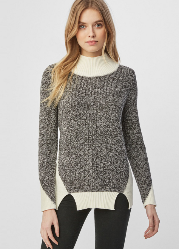 Cotton Shaker Colorblock Cutout Hem Sweater by 525 America - ShopMINQ