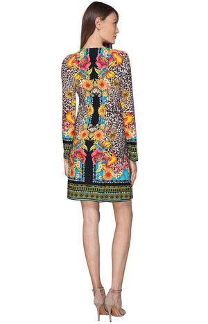 Magda Jersey Leopard with Hummingbird Detail Dress by Hale Bob