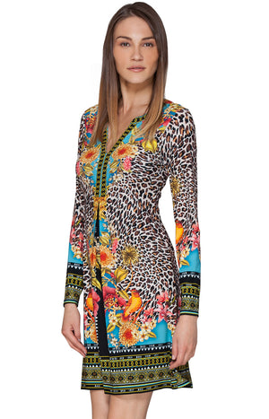 Magda Jersey Leopard with Hummingbird Detail Dress by Hale Bob - ShopMINQ