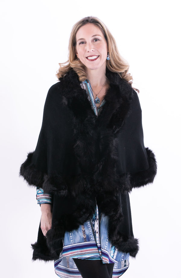 Long Double Faux Fur Trimmed Jacket by Silvia Alexander - ShopMINQ