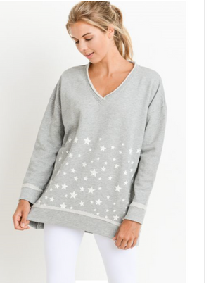 Antiqed Star Cluster Longline V-Neck Sweatshirt by MINQ