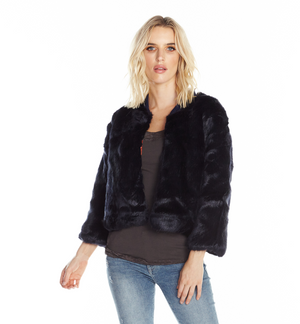 Blue Gotha Faux Fur Reversible Bomber by Aratta - ShopMINQ