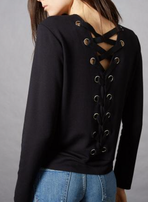Bardot Lace Up Back Sweatshirt by Bailey 44 - ShopMINQ
