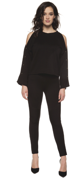 Bar Sleeve Sweater Top by Black Label - ShopMINQ